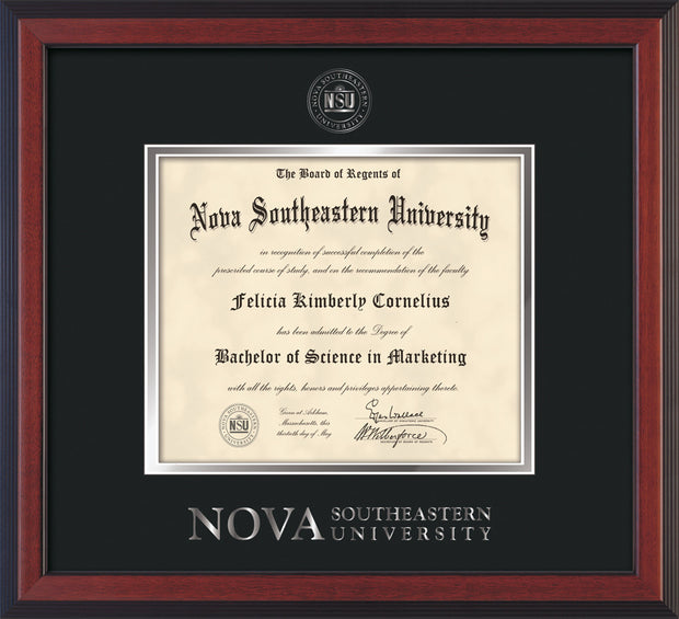Image of Nova Southeastern University Diploma Frame - Cherry Reverse - w/Silver Embossed NSU Seal & Wordmark - Black on Silver mat