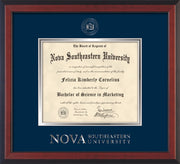 Image of Nova Southeastern University Diploma Frame - Cherry Reverse - w/Silver Embossed NSU Seal & Wordmark - Navy on Silver mat