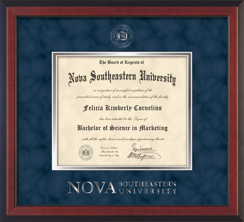 Image of Nova Southeastern University Diploma Frame - Cherry Reverse - w/Silver Embossed NSU Seal & Wordmark - Navy Suede on Silver mat