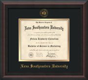 Image of Nova Southeastern University Diploma Frame - Mahogany Braid - w/Embossed NSU Seal & Name - Black on Gold mat