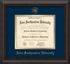 Image of Nova Southeastern University Diploma Frame - Mahogany Braid - w/Embossed NSU Seal & Name - Navy on Gold mat