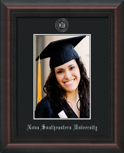Image of Nova Southeastern University 5 x 7 Photo Frame - Mahogany Braid - w/Official Silver Embossing of NSU Seal & Name - Single Black mat