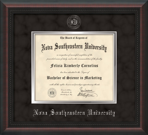 Image of Nova Southeastern University Diploma Frame - Mahogany Braid - w/Silver Embossed NSU Seal & Name - Black Suede on Silver mat
