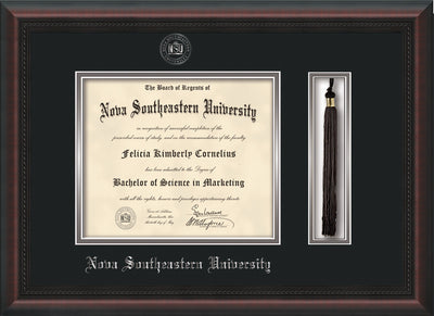 Image of Nova Southeastern University Diploma Frame - Mahogany Braid - w/Silver Embossed NSU Seal & Name - Tassel Holder - Black on Silver mat