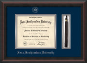 Image of Nova Southeastern University Diploma Frame - Mahogany Braid - w/Silver Embossed NSU Seal & Name - Tassel Holder - Navy on Silver mat