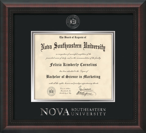 Image of Nova Southeastern University Diploma Frame - Mahogany Braid - w/Silver Embossed NSU Seal & Wordmark - Black on Silver mat