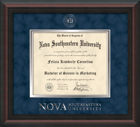 Image of Nova Southeastern University Diploma Frame - Mahogany Braid - w/Silver Embossed NSU Seal & Wordmark - Navy Suede on Silver mat