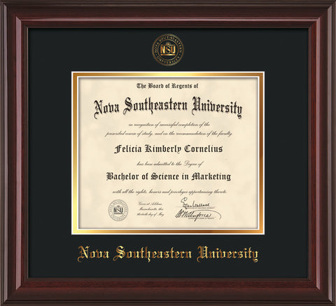 Image of Nova Southeastern University Diploma Frame - Mahogany Lacquer - w/Embossed NSU Seal & Name - Black on Gold mat