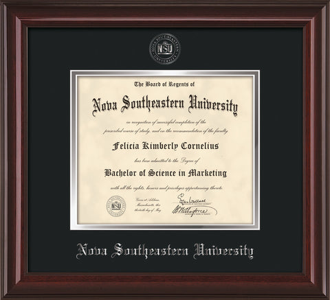 Image of Nova Southeastern University Diploma Frame - Mahogany Lacquer - w/Silver Embossed NSU Seal & Name - Black on Silver mat