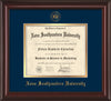 Image of Nova Southeastern University Diploma Frame - Mahogany Lacquer - w/Embossed NSU Seal & Name - Navy on Gold mat