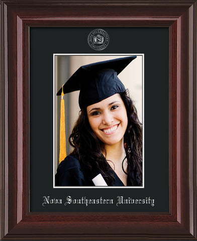 Image of Nova Southeastern University 5 x 7 Photo Frame - Mahogany Lacquer - w/Official Silver Embossing of NSU Seal & Name - Single Black mat