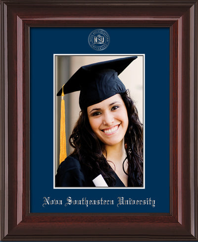 Image of Nova Southeastern University 5 x 7 Photo Frame - Mahogany Lacquer - w/Official Silver Embossing of NSU Seal & Name - Single Navy mat