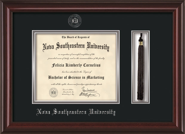 Image of Nova Southeastern University Diploma Frame - Mahogany Lacquer - w/Silver Embossed NSU Seal & Name - Tassel Holder - Black on Silver mat