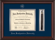 Image of Nova Southeastern University Diploma Frame - Mahogany Lacquer - w/Silver Embossed NSU Seal & Name - Tassel Holder - Navy on Silver mat