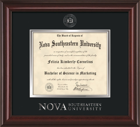 Image of Nova Southeastern University Diploma Frame - Mahogany Lacquer - w/Silver Embossed NSU Seal & Wordmark - Black on Silver mat