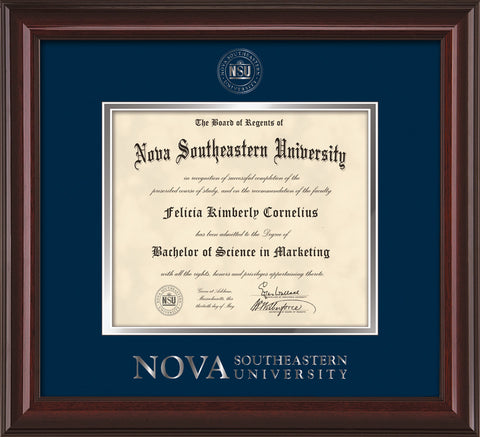 Image of Nova Southeastern University Diploma Frame - Mahogany Lacquer - w/Silver Embossed NSU Seal & Wordmark - Navy on Silver mat