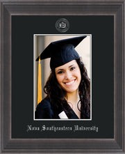 Image of Nova Southeastern University 5 x 7 Photo Frame - Metro Antique Pewter Double - w/Official Silver Embossing of NSU Seal & Name - Single Black mat