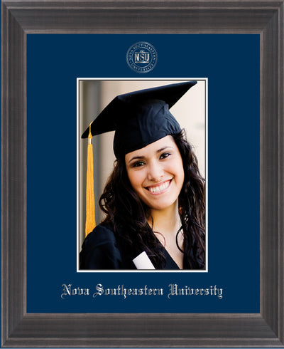 Image of Nova Southeastern University 5 x 7 Photo Frame - Metro Antique Pewter Double - w/Official Silver Embossing of NSU Seal & Name - Single Navy mat