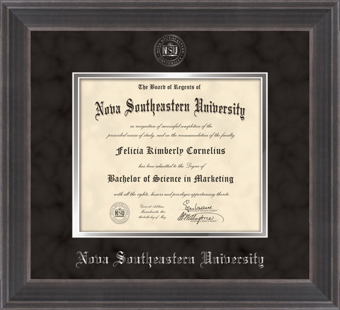 Image of Nova Southeastern University Diploma Frame - Metro Antique Pewter Double - w/Silver Embossed NSU Seal & Name - Black Suede on Silver mat