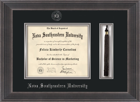 Image of Nova Southeastern University Diploma Frame - Metro Antique Pewter Double - w/Silver Embossed NSU Seal & Name - Tassel Holder - Black on Silver mat