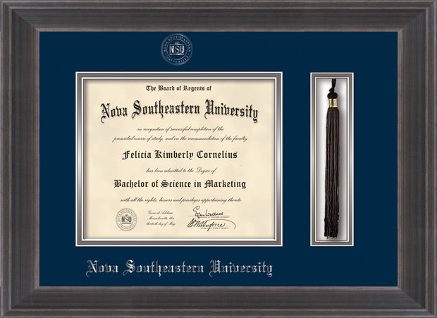 Image of Nova Southeastern University Diploma Frame - Metro Antique Pewter Double - w/Silver Embossed NSU Seal & Name - Tassel Holder - Navy on Silver mat