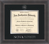 Image of Nova Southeastern University Diploma Frame - Metro Antique Pewter Double - w/Silver Embossed NSU Seal & Wordmark - Black on Silver mat