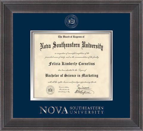 Image of Nova Southeastern University Diploma Frame - Metro Antique Pewter Double - w/Silver Embossed NSU Seal & Wordmark - Navy on Silver mat