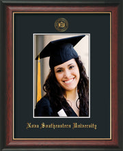 Image of Nova Southeastern University 5 x 7 Photo Frame - Rosewood w/Gold Lip - w/Official Embossing of NSU Seal & Name - Single Black mat