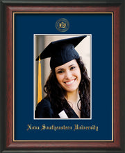 Image of Nova Southeastern University 5 x 7 Photo Frame - Rosewood w/Gold Lip - w/Official Embossing of NSU Seal & Name - Single Navy mat