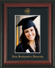 Image of Nova Southeastern University 5 x 7 Photo Frame - Rosewood - w/Official Embossing of NSU Seal & Name - Single Black mat