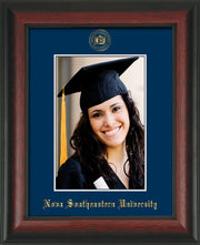 Image of Nova Southeastern University 5 x 7 Photo Frame  - Rosewood - w/Official Embossing of NSU Seal & Name - Single Navy mat