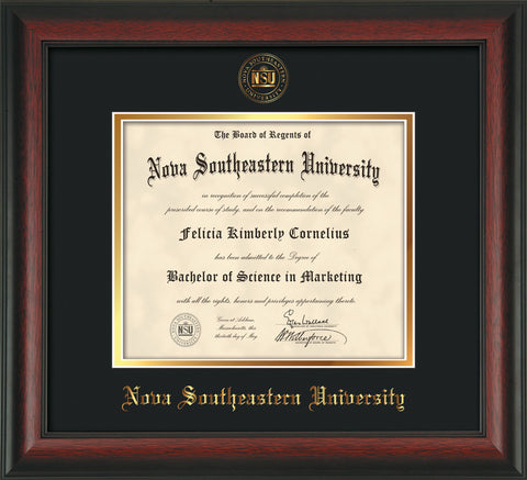 Image of Nova Southeastern University Diploma Frame - Rosewood - w/Embossed NSU Seal & Name - Black on Gold mat