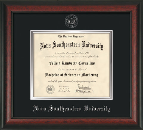 Image of Nova Southeastern University Diploma Frame - Rosewood - w/Silver Embossed NSU Seal & Name - Black on Silver mat