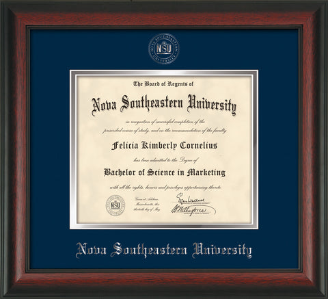 Image of Nova Southeastern University Diploma Frame - Rosewood - w/Silver Embossed NSU Seal & Name - Navy on Silver mat