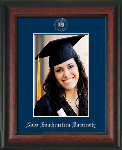 Image of Nova Southeastern University 5 x 7 Photo Frame - Rosewood - w/Official Silver Embossing of NSU Seal & Name - Single Navy mat