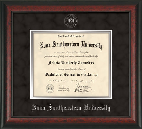 Image of Nova Southeastern University Diploma Frame - Rosewood - w/Silver Embossed NSU Seal & Name - Black Suede on Silver mat