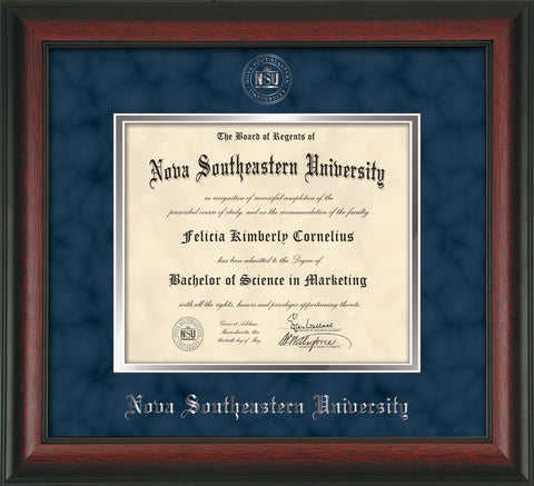 Image of Nova Southeastern University Diploma Frame - Rosewood - w/Silver Embossed NSU Seal & Name - Navy Suede on Silver mat