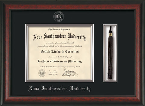 Image of Nova Southeastern University Diploma Frame - Rosewood - w/Silver Embossed NSU Seal & Name - Tassel Holder - Black on Silver mat