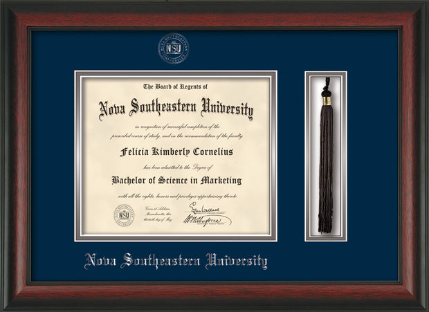 Image of Nova Southeastern University Diploma Frame - Rosewood - w/Silver Embossed NSU Seal & Name - Tassel Holder - Navy on Silver mat