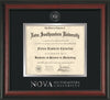 Image of Nova Southeastern University Diploma Frame - Rosewood - w/Silver Embossed NSU Seal & Wordmark - Black on Silver mat
