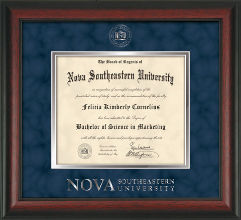 Image of Nova Southeastern University Diploma Frame - Rosewood - w/Silver Embossed NSU Seal & Wordmark - Navy Suede on Silver mat