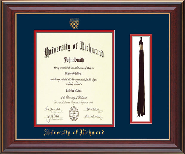 University of Richmond Diploma Frame - Cherry Lacquer - w/Embossed Seal & Name - Tassel Holder - Navy on Red mats