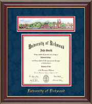 University of Richmond Diploma Frame - Cherry Lacquer - w/Embossed School Name Only - Campus Collage - Navy Suede on Red mat
