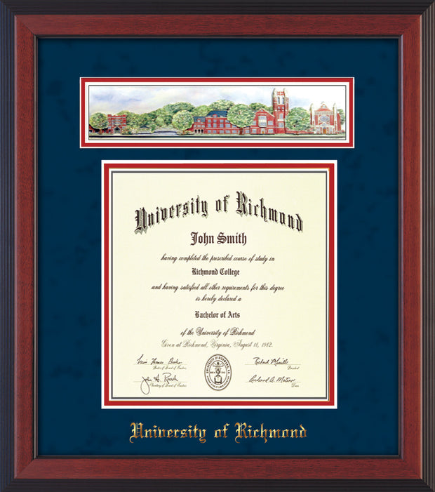 University of Richmond Diploma Frame - Cherry Reverse - w/Embossed School Name Only - Campus Collage - Navy Suede on Red mat