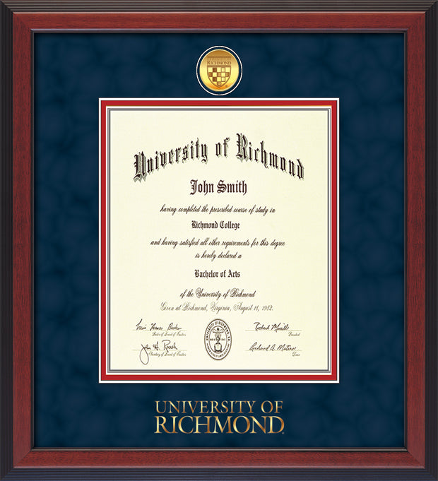 Image of University of Richmond Diploma Frame - Cherry Reverse - w/24k Gold-Plated Medallion UR Wordmark Embossing - Navy Suede on Red mats - LAW