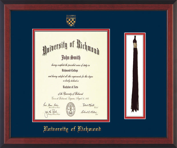 University of Richmond Diploma Frame - Cherry Reverse - w/Embossed Seal & Name - Tassel Holder - Navy on Red mats