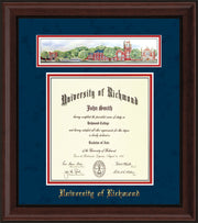 University of Richmond Diploma Frame - Mahogany Bead - w/Embossed School Name Only - Campus Collage - Navy Suede on Red mat