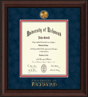 Image of University of Richmond Diploma Frame - Mahogany Bead - w/24k Gold-Plated Medallion UR Wordmark Embossing - Navy Suede on Red mats - LAW