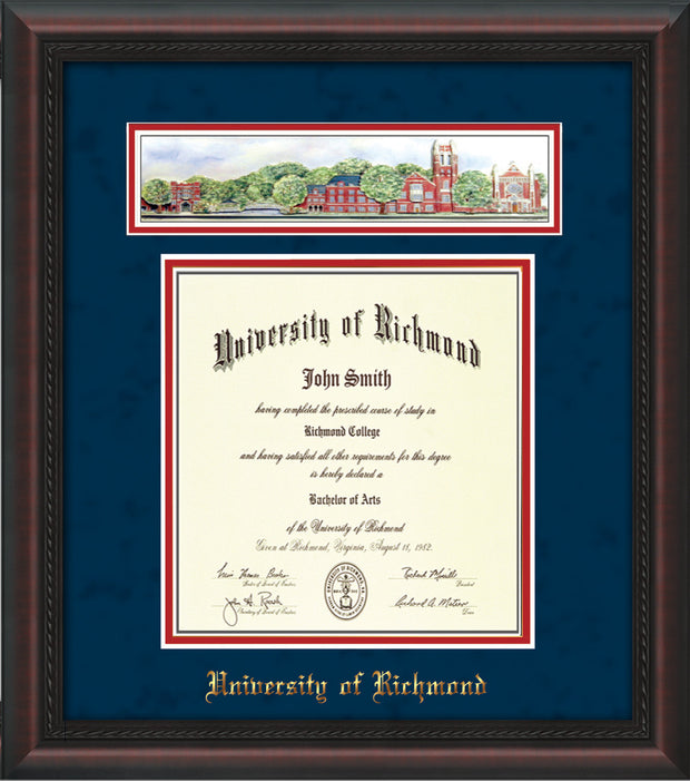 University of Richmond Diploma Frame - Mahogany Braid - w/Embossed School Name Only - Campus Collage - Navy Suede on Red mat