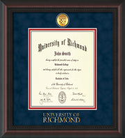 Image of University of Richmond Diploma Frame - Mahogany Braid - w/24k Gold-Plated Medallion UR Wordmark Embossing - Navy Suede on Red mats - LAW